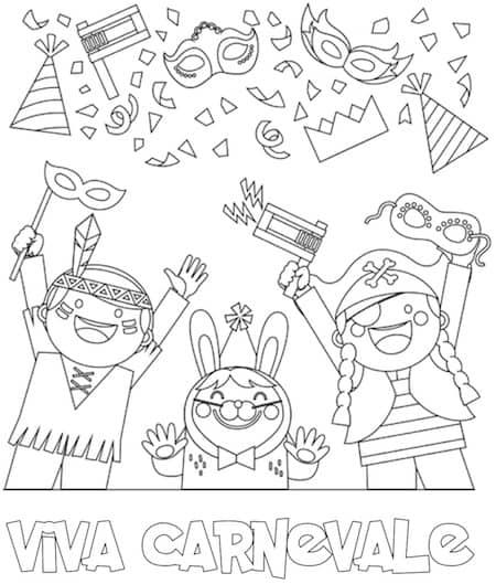 Disegno Di Carnevale Da Colorare Per Bambini Da Stampare Gratis