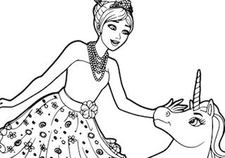 Disegno Di Barbie E Dell Unicorno Magico Da Stampare Gratis E Colorare