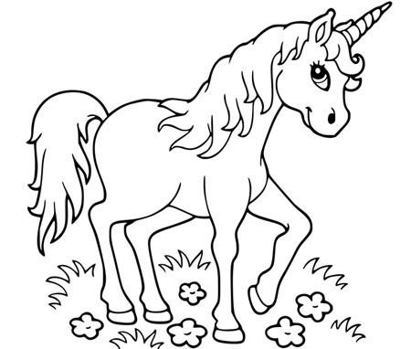 Disegno Di Giovane Unicorno Da Stampare Gratis E Da Colorare Per Bambini