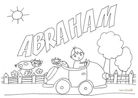 Disegno del nome Abraham da stampare e colorare