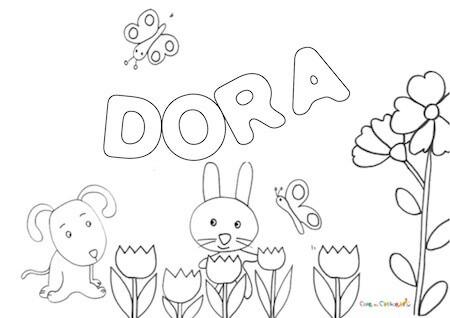 Nome Dora da colorare: disegno da stampare