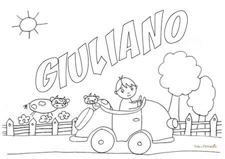 Disegno del nome Giuliano da stampare e da colorare