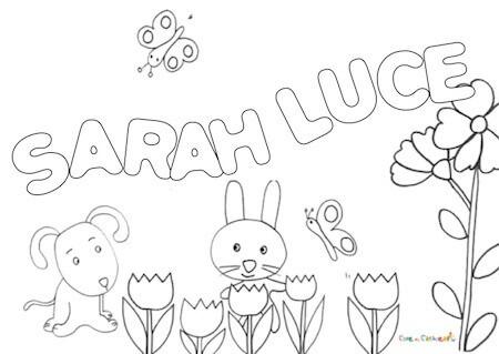 Nome Sarah Luce: disegno da stampare e colorare