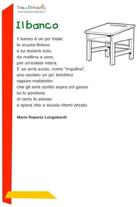 Poesia per la fine della scuola, scuola primaria