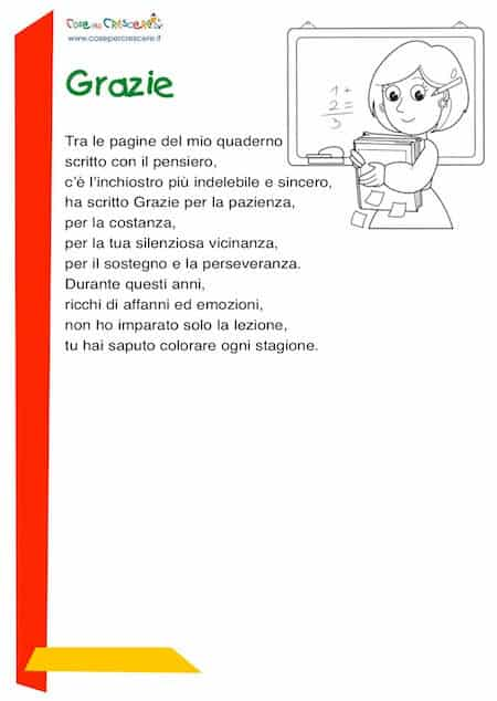 Poesia per ringraziare la maestra