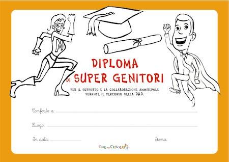 Diploma per i genitori per il loro supporto nella DAD