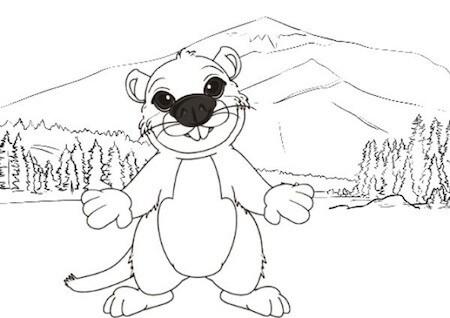 Disegno di marmotta da colorare