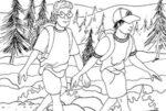 Ragazzi in gita in montagna da colorare