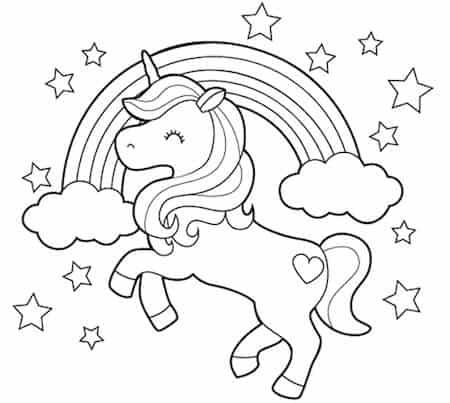 Unicorno Da Colorare.Disegno Di Unicorno E Arcobaleno Da Stampare Gratis E Da Colorare