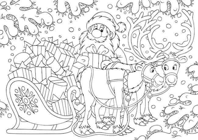 Disegni Di Natale Da Unire Con I Puntini.Disegno Di Babbo Natale Con Slitta E Renne Da Stampare E Colorare