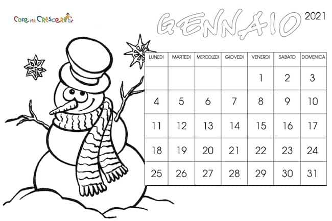Calendario Dicembre 2021 Bambini Calendario 2021 per bambini da stampare gratis e da colorare