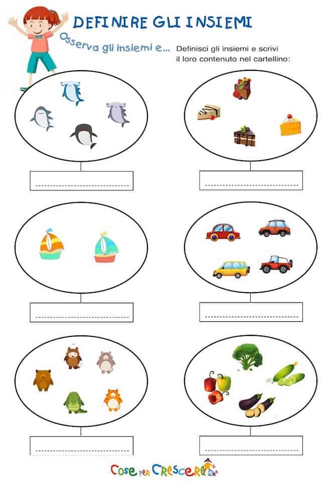 esercizio sugli insiemi per la scuola primaria