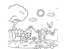 bambini in primavera da colorare