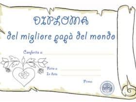 Diploma migliore papà del mondo da stampare