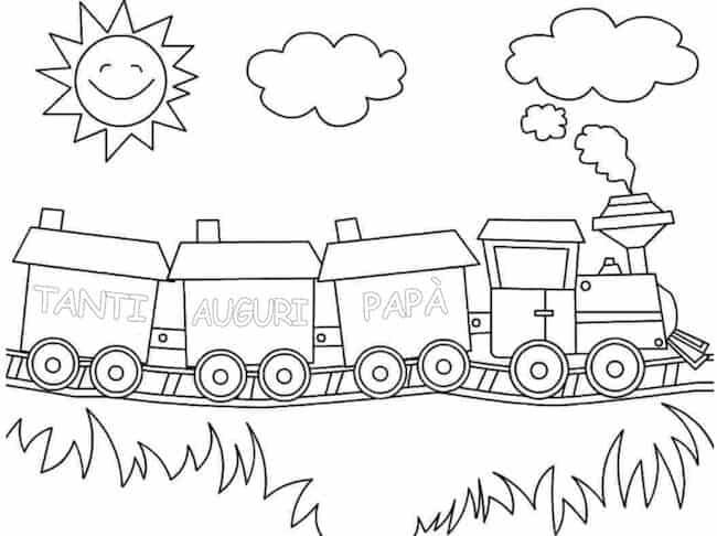 Disegno di treno di auguri per papà da colorare