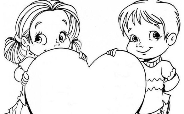 Bambini con un cuore da colorare