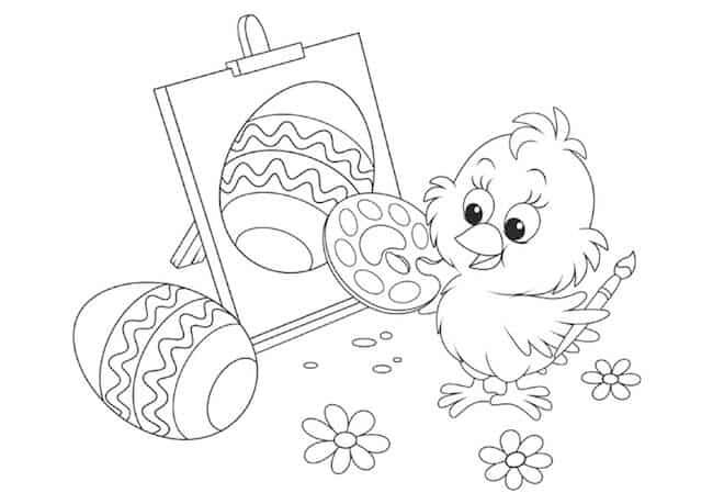 Pulcino di Pasqua da colorare