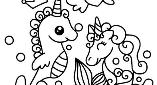 Unicorni del mare da colorare