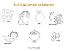 Frutta autunnale da colorare