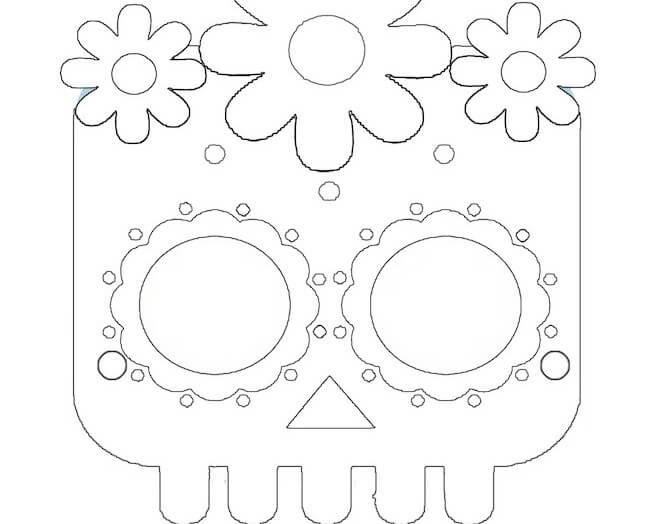 Maschera da teschio messicano da colorare